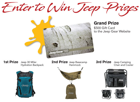 Enter to win Jeep Prizes!